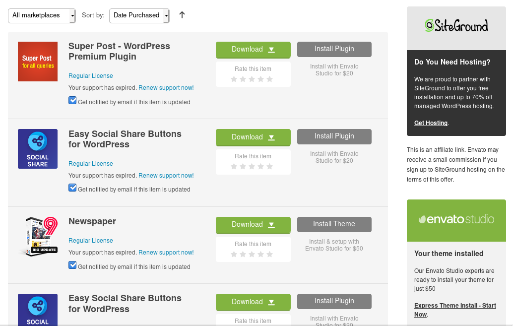 envato download interface