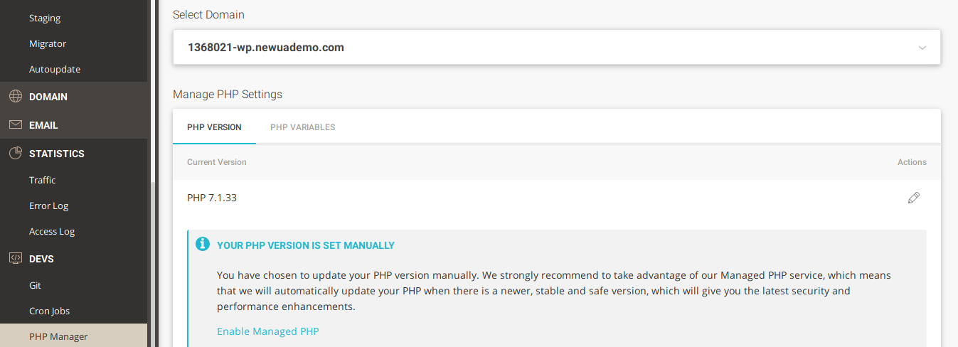 Siteground: php versions