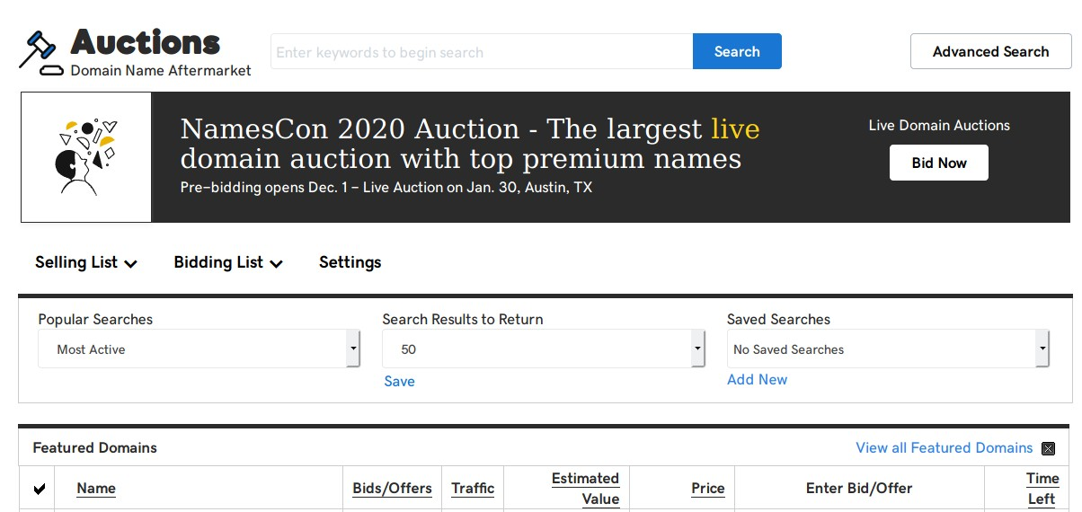GoDaddy Auctions review