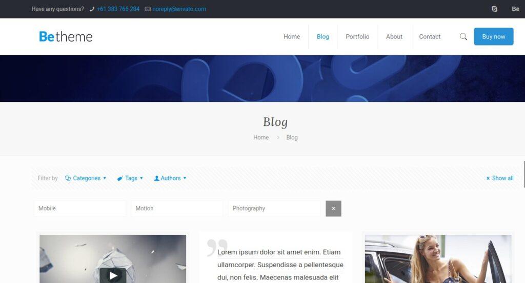 BeTheme blog page