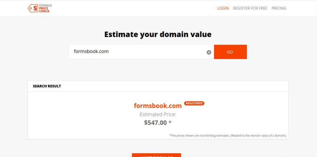 Domain Price Check