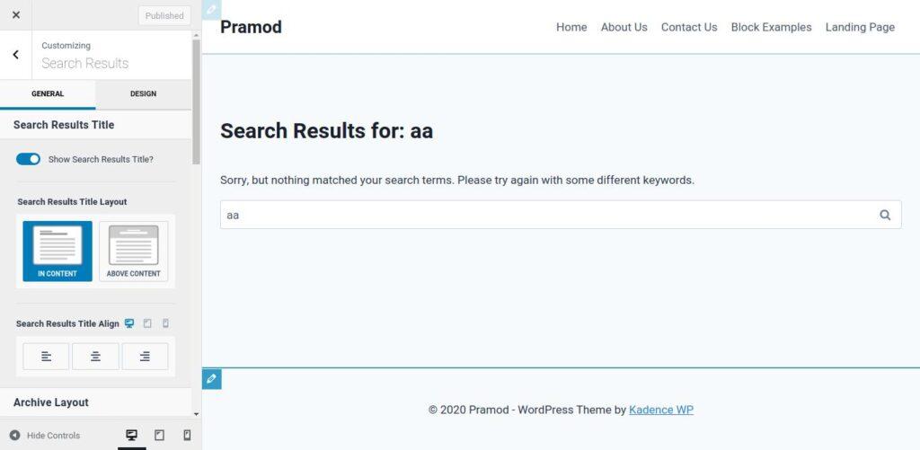 Kadence Search Customization