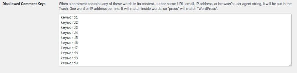 wordpress disallowed comment keys - akismet alternative